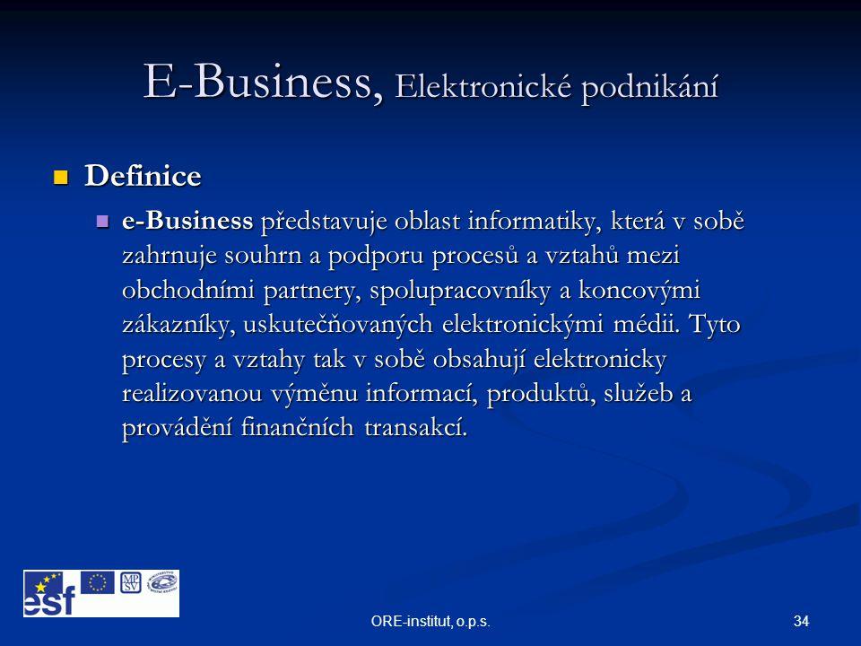 34ORE-institut, o.p.s. E-Business, Elektronické podnikání  Definice  e-Business představuje oblast informatiky, která v sobě zahrnuje souhrn a podpo