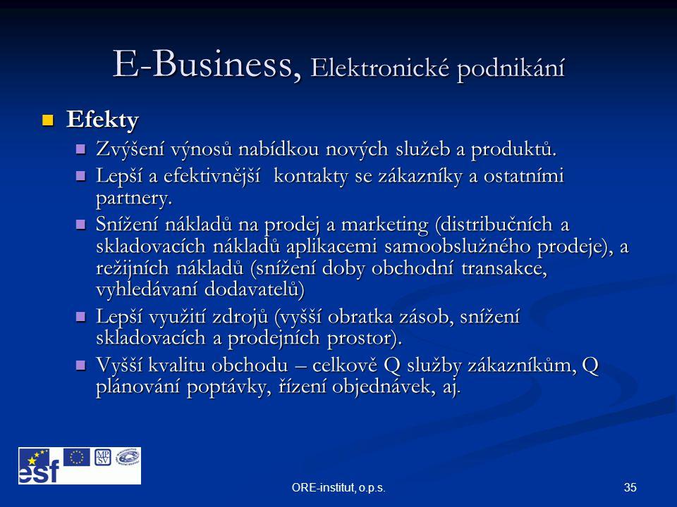 35ORE-institut, o.p.s. E-Business, Elektronické podnikání  Efekty  Zvýšení výnosů nabídkou nových služeb a produktů.  Lepší a efektivnější kontakty