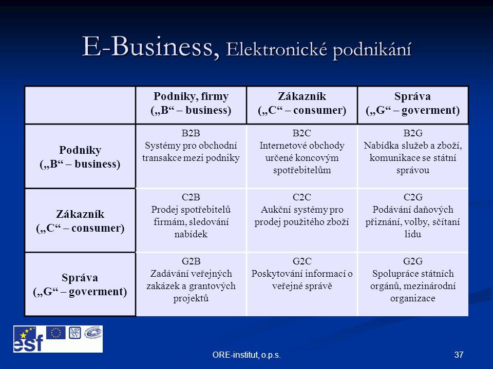 "37ORE-institut, o.p.s. E-Business, Elektronické podnikání Podniky, firmy (""B"" – business) Zákazník (""C"" – consumer) Správa (""G"" – goverment) Podniky ("