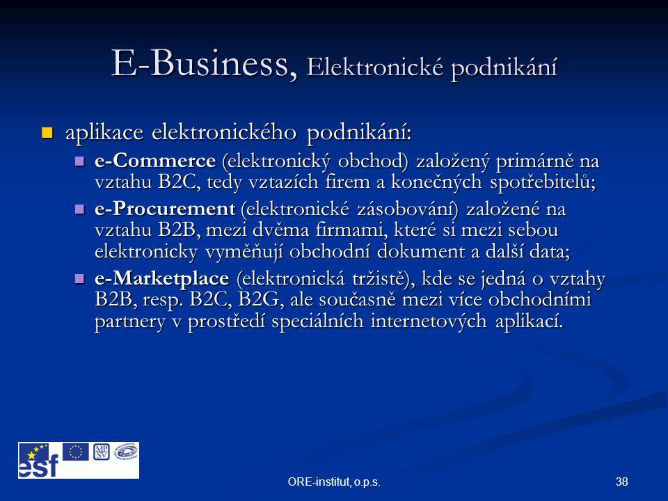 38ORE-institut, o.p.s. E-Business, Elektronické podnikání  aplikace elektronického podnikání:  e-Commerce (elektronický obchod) založený primárně na