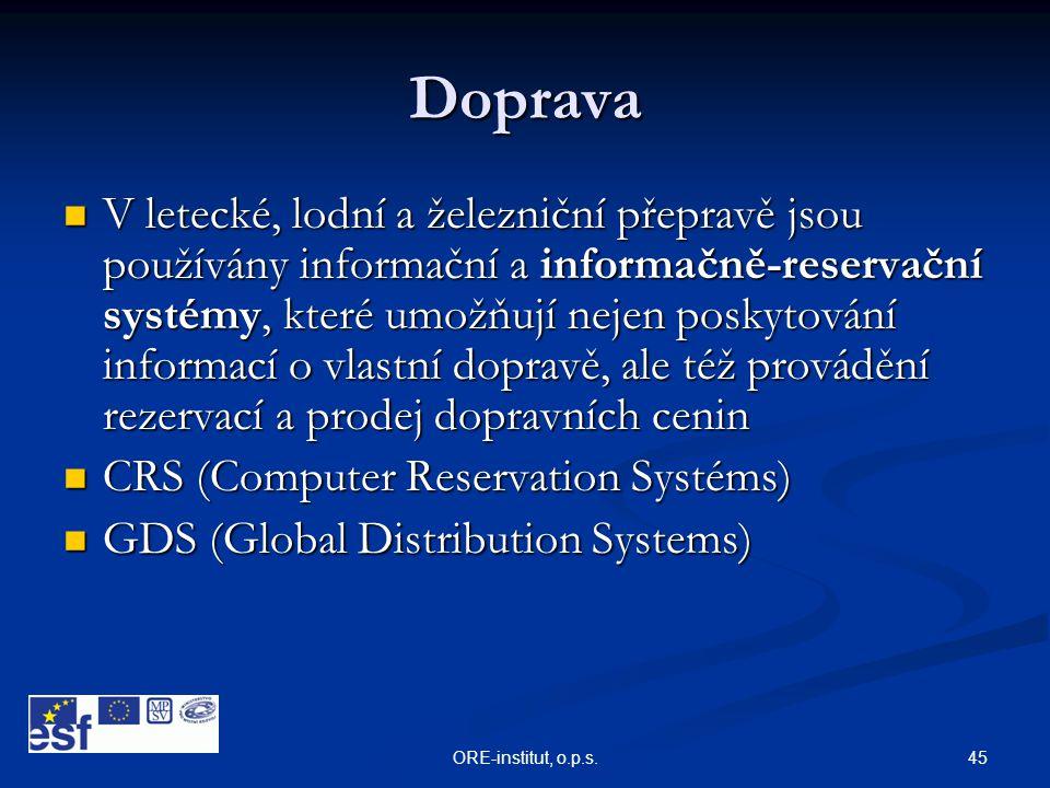 45ORE-institut, o.p.s. Doprava  V letecké, lodní a železniční přepravě jsou používány informační a informačně-reservační systémy, které umožňují neje
