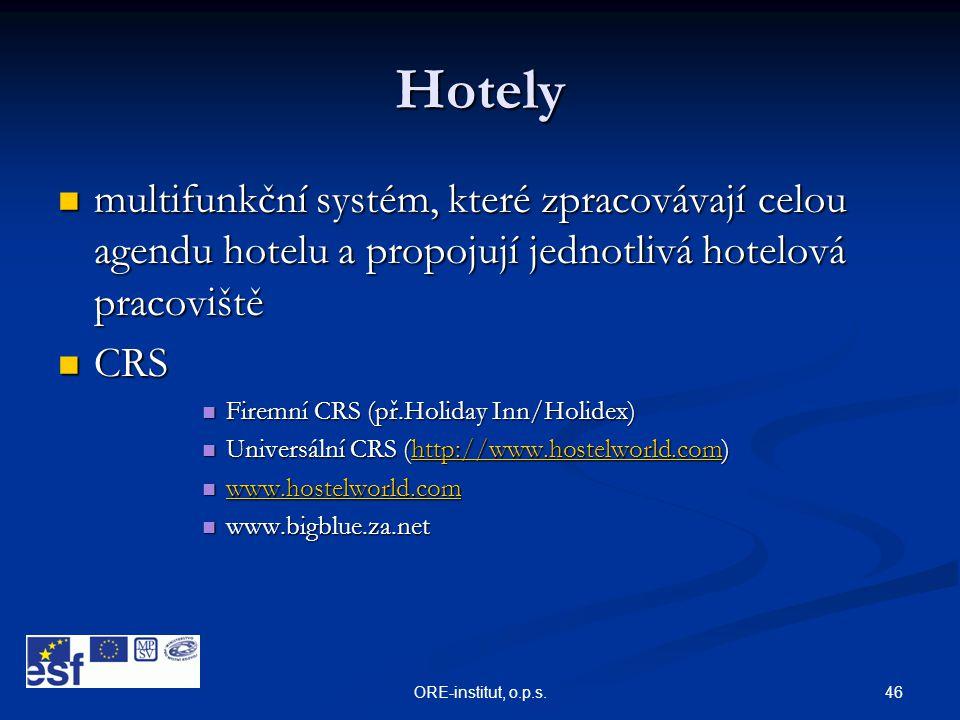 46ORE-institut, o.p.s. Hotely  multifunkční systém, které zpracovávají celou agendu hotelu a propojují jednotlivá hotelová pracoviště  CRS  Firemní