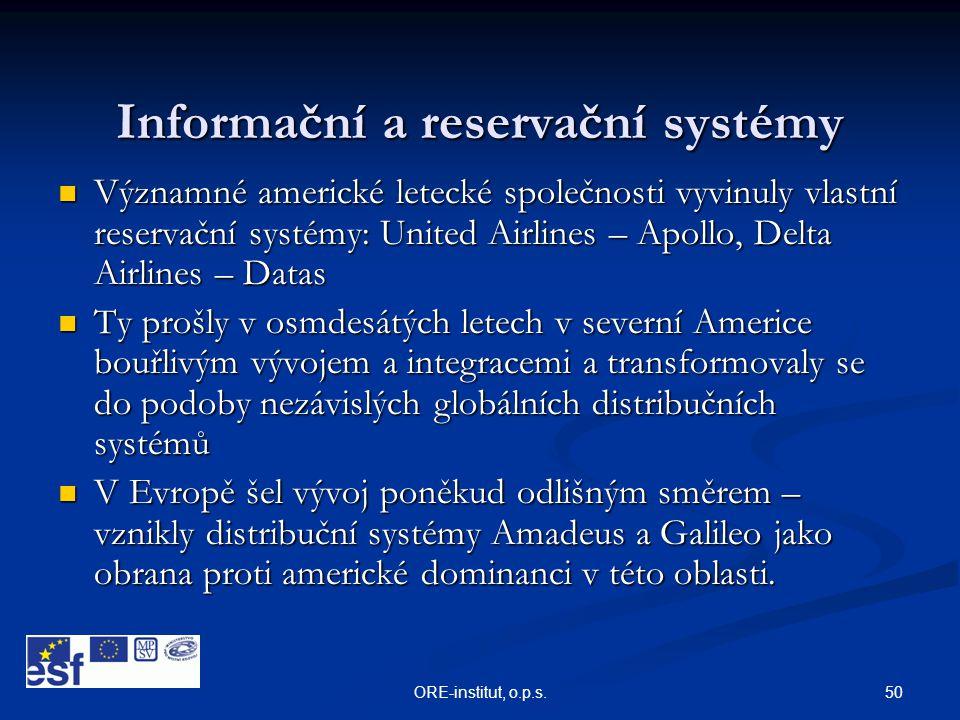 50ORE-institut, o.p.s. Informační a reservační systémy  Významné americké letecké společnosti vyvinuly vlastní reservační systémy: United Airlines –