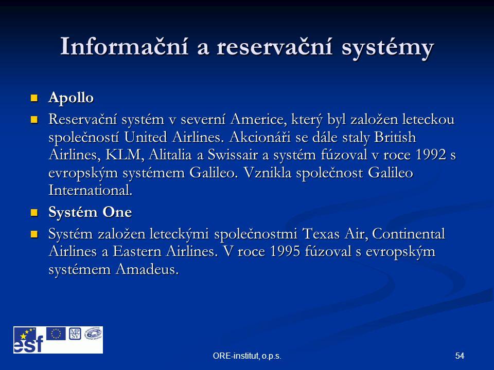 54ORE-institut, o.p.s. Informační a reservační systémy  Apollo  Reservační systém v severní Americe, který byl založen leteckou společností United A