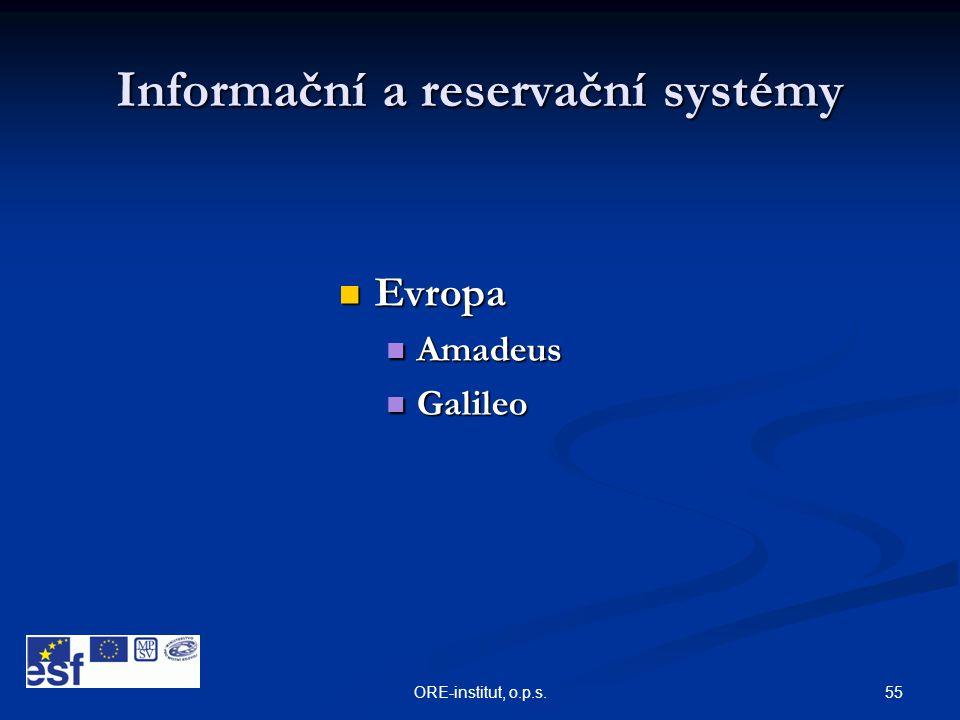 55ORE-institut, o.p.s. Informační a reservační systémy  Evropa  Amadeus  Galileo