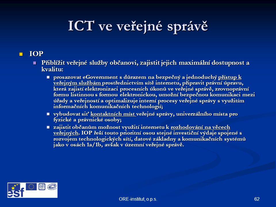 62ORE-institut, o.p.s. ICT ve veřejné správě  IOP  Přiblížit veřejné služby občanovi, zajistit jejich maximální dostupnost a kvalitu:  prosazovat e