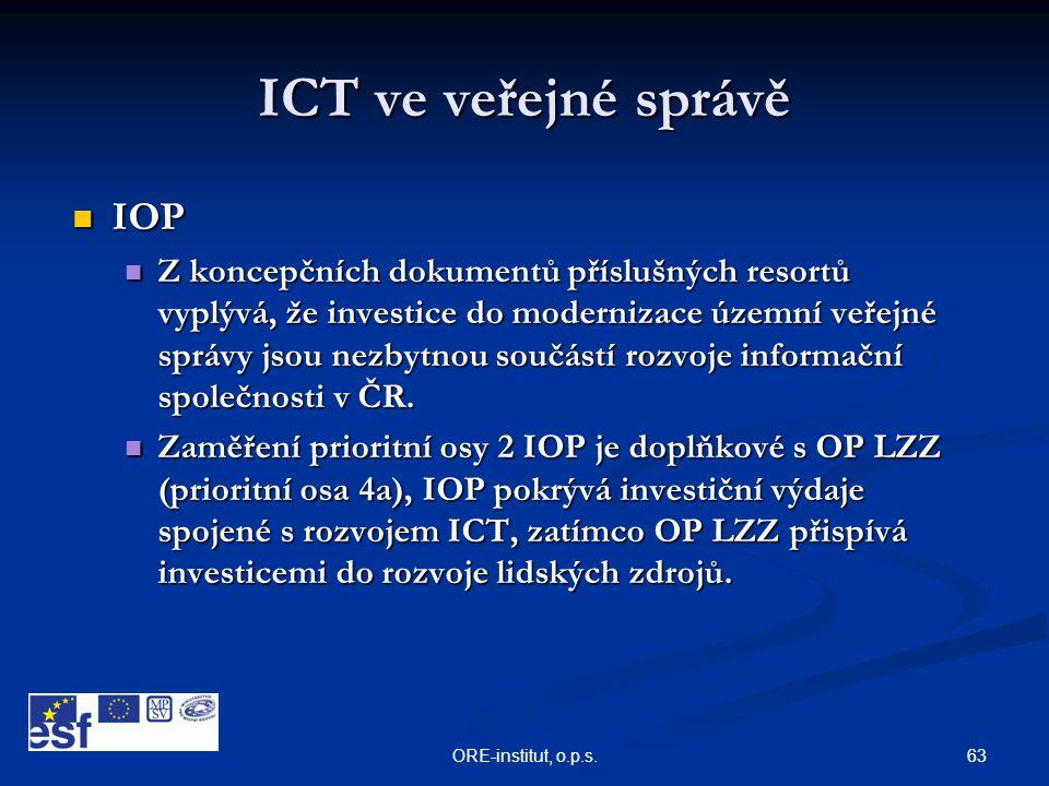 63ORE-institut, o.p.s. ICT ve veřejné správě  IOP  Z koncepčních dokumentů příslušných resortů vyplývá, že investice do modernizace územní veřejné s