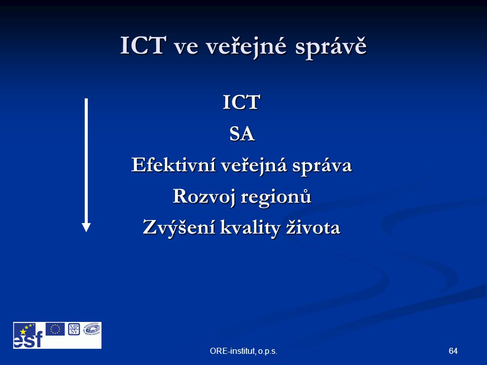 64ORE-institut, o.p.s. ICT ve veřejné správě ICTSA Efektivní veřejná správa Rozvoj regionů Zvýšení kvality života