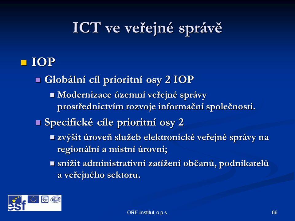 66ORE-institut, o.p.s. ICT ve veřejné správě  IOP  Globální cíl prioritní osy 2 IOP  Modernizace územní veřejné správy prostřednictvím rozvoje info