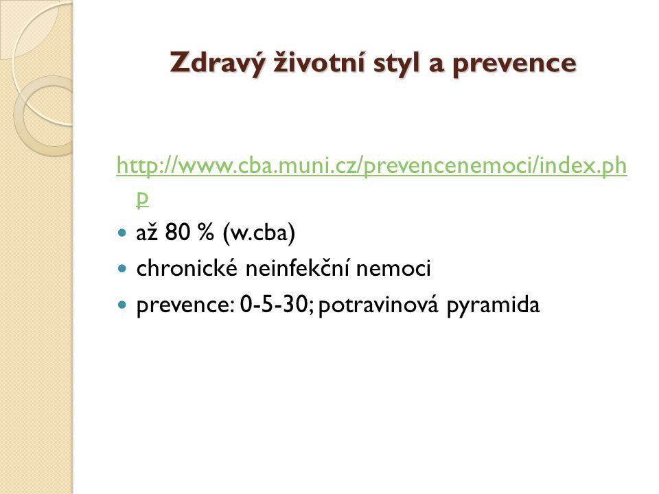 Zdravý životní styl a prevence http://www.cba.muni.cz/prevencenemoci/index.ph p  až 80 % (w.cba)  chronické neinfekční nemoci  prevence: 0-5-30; potravinová pyramida