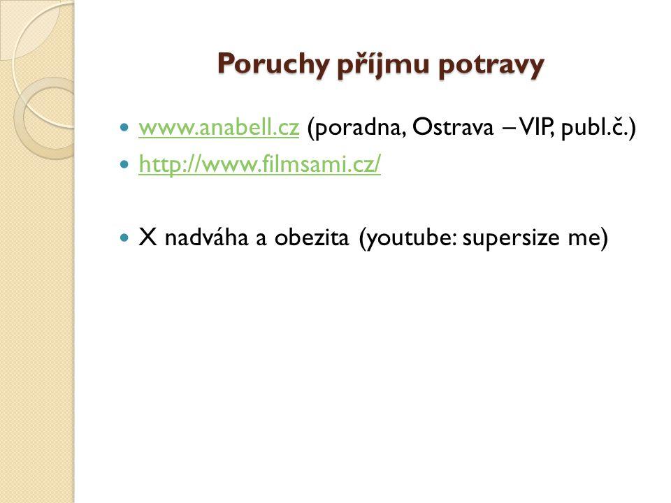 Poruchy příjmu potravy  www.anabell.cz (poradna, Ostrava – VIP, publ.č.) www.anabell.cz  http://www.filmsami.cz/ http://www.filmsami.cz/  X nadváha a obezita (youtube: supersize me)