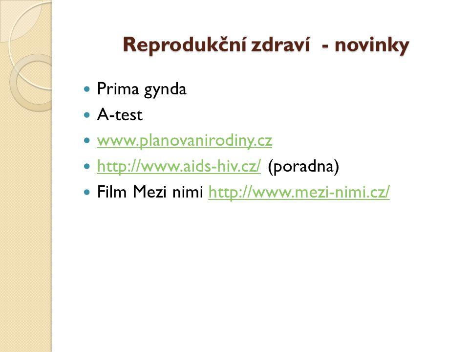 Reprodukční zdraví - novinky  Prima gynda  A-test  www.planovanirodiny.cz www.planovanirodiny.cz  http://www.aids-hiv.cz/ (poradna) http://www.aids-hiv.cz/  Film Mezi nimi http://www.mezi-nimi.cz/http://www.mezi-nimi.cz/