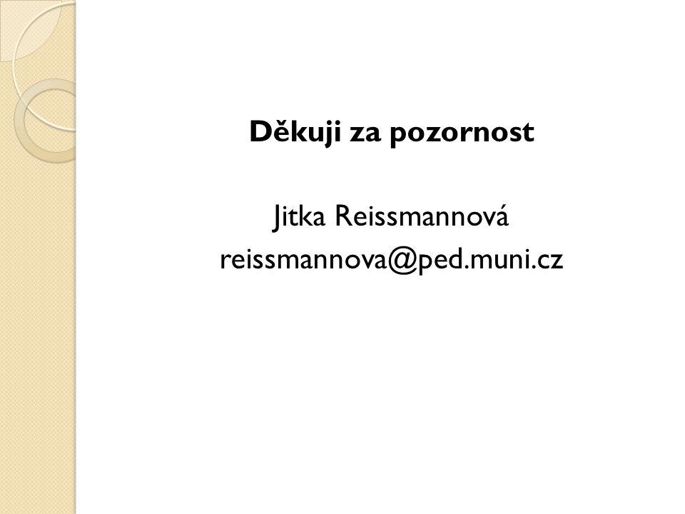 Děkuji za pozornost Jitka Reissmannová reissmannova@ped.muni.cz