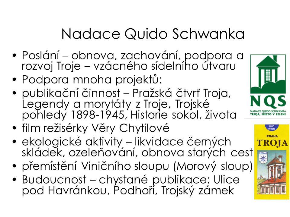 Nadace Quido Schwanka •Poslání – obnova, zachování, podpora a rozvoj Troje – vzácného sídelního útvaru •Podpora mnoha projektů: •publikační činnost –