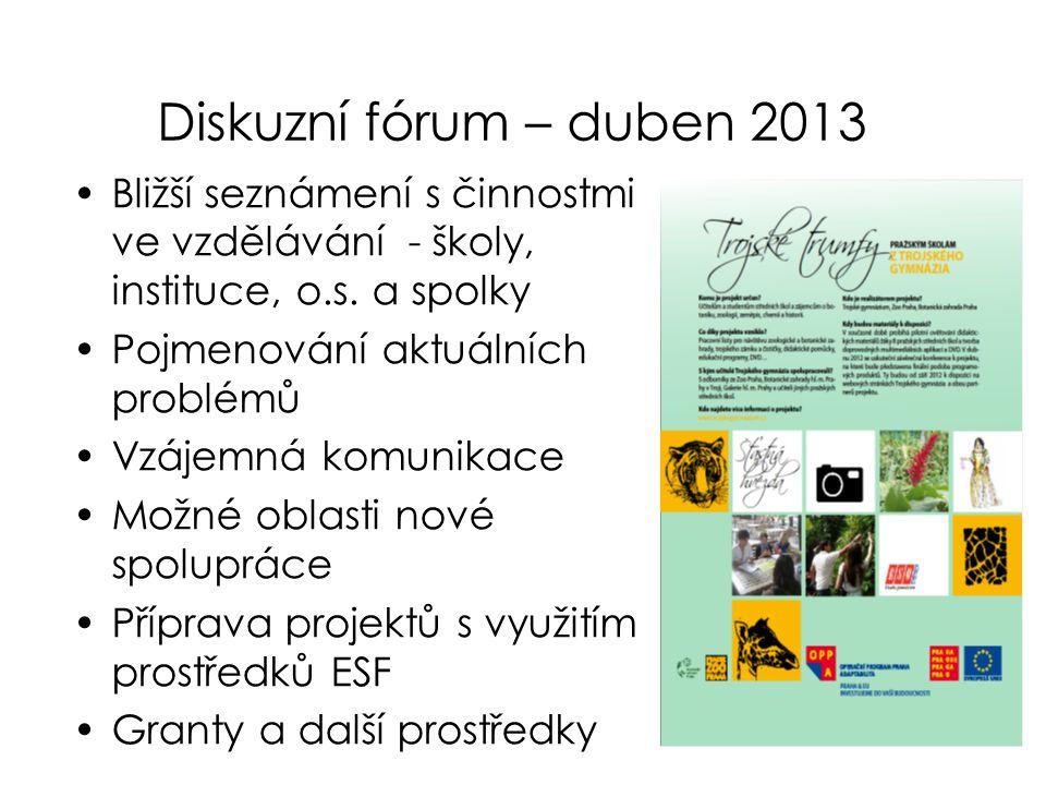 Diskuzní fórum – duben 2013 •Bližší seznámení s činnostmi ve vzdělávání - školy, instituce, o.s. a spolky •Pojmenování aktuálních problémů •Vzájemná k
