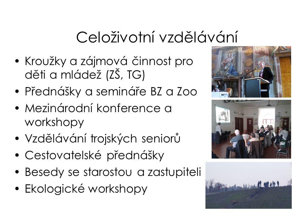 Celoživotní vzdělávání •Kroužky a zájmová činnost pro děti a mládež (ZŠ, TG) •Přednášky a semináře BZ a Zoo •Mezinárodní konference a workshopy •Vzděl