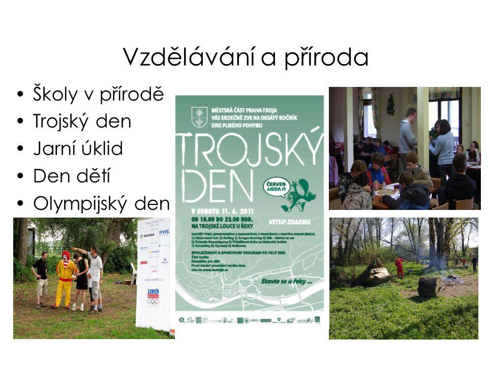 Vzdělávání a příroda •Školy v přírodě •Trojský den •Jarní úklid •Den dětí •Olympijský den