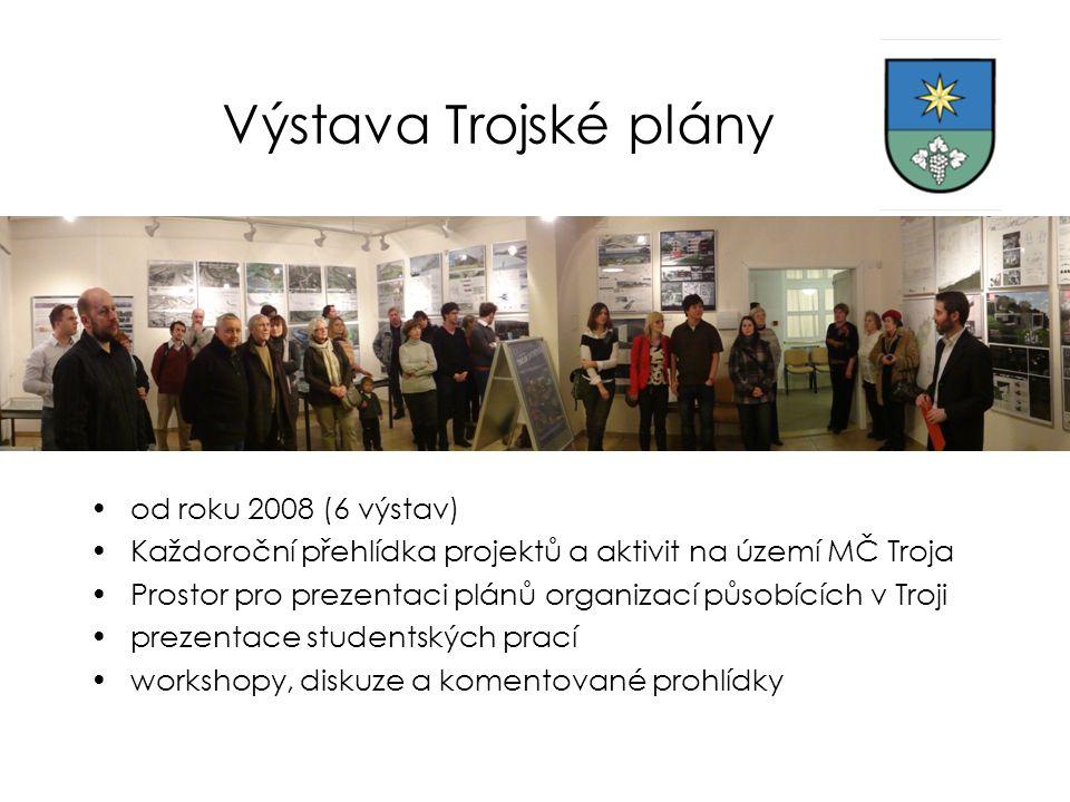 Výstava Trojské plány •od roku 2008 (6 výstav) •Každoroční přehlídka projektů a aktivit na území MČ Troja •Prostor pro prezentaci plánů organizací půs