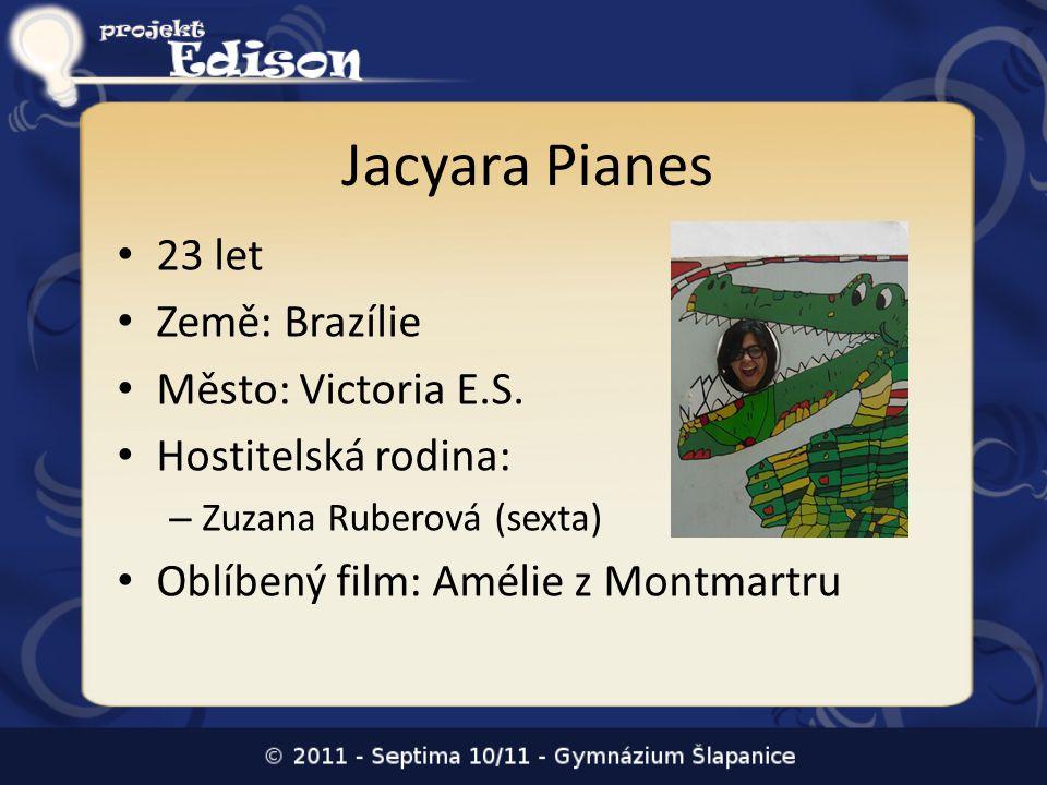 Jacyara Pianes • 23 let • Země: Brazílie • Město: Victoria E.S. • Hostitelská rodina: – Zuzana Ruberová (sexta) • Oblíbený film: Amélie z Montmartru