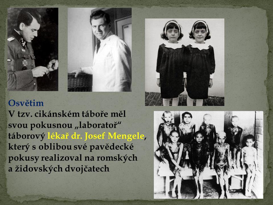 """Osvětim V tzv. cikánském táboře měl svou pokusnou """"laboratoř"""" táborový lékař dr. Josef Mengele, který s oblibou své pavědecké pokusy realizoval na rom"""
