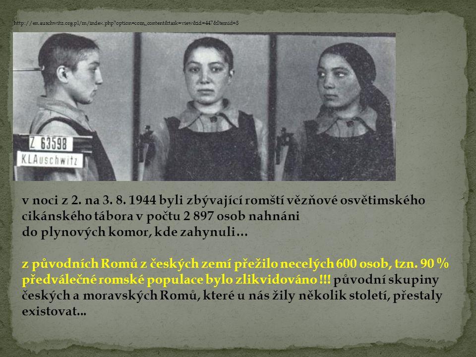 v noci z 2. na 3. 8. 1944 byli zbývající romští vězňové osvětimského cikánského tábora v počtu 2 897 osob nahnáni do plynových komor, kde zahynuli… z
