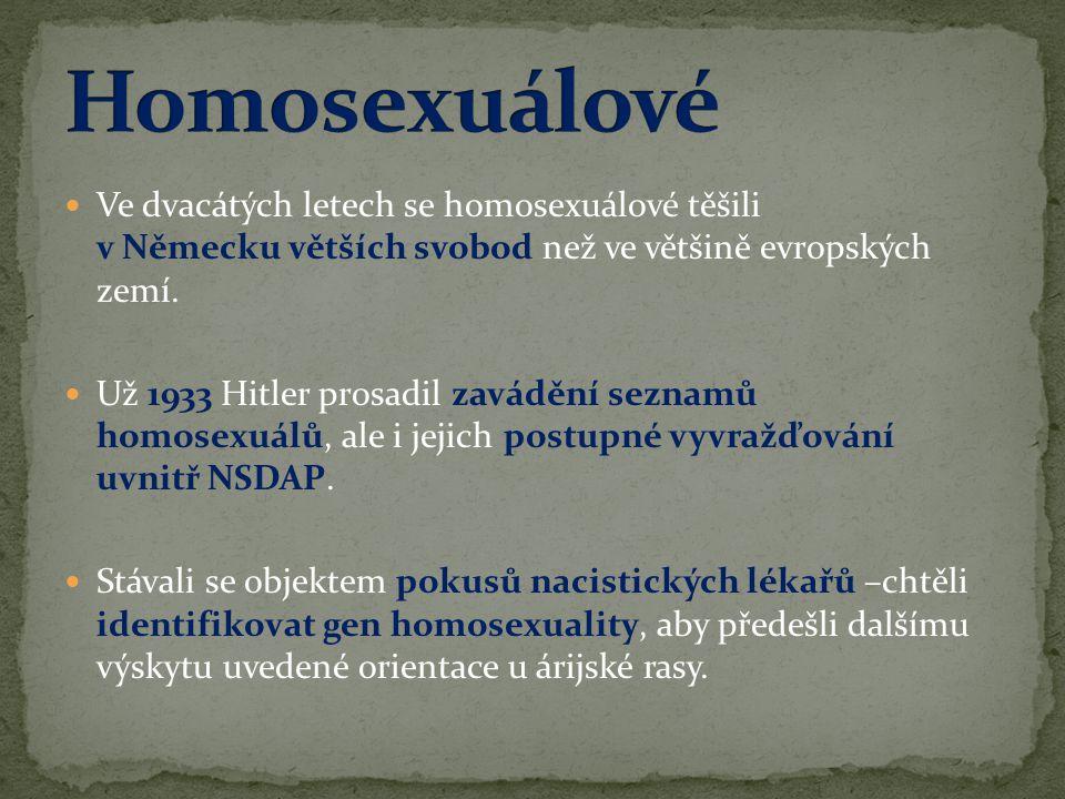  Ve dvacátých letech se homosexuálové těšili v Německu větších svobod než ve většině evropských zemí.  Už 1933 Hitler prosadil zavádění seznamů homo