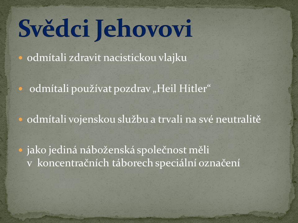 """ odmítali zdravit nacistickou vlajku  odmítali používat pozdrav """"Heil Hitler""""  odmítali vojenskou službu a trvali na své neutralitě  jako jediná n"""