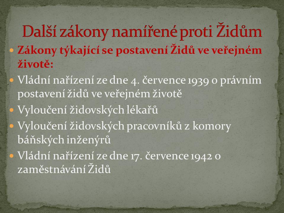 Zákony týkající se postavení Židů ve veřejném životě:  Vládní nařízení ze dne 4. července 1939 o právním postavení židů ve veřejném životě  Vylouč