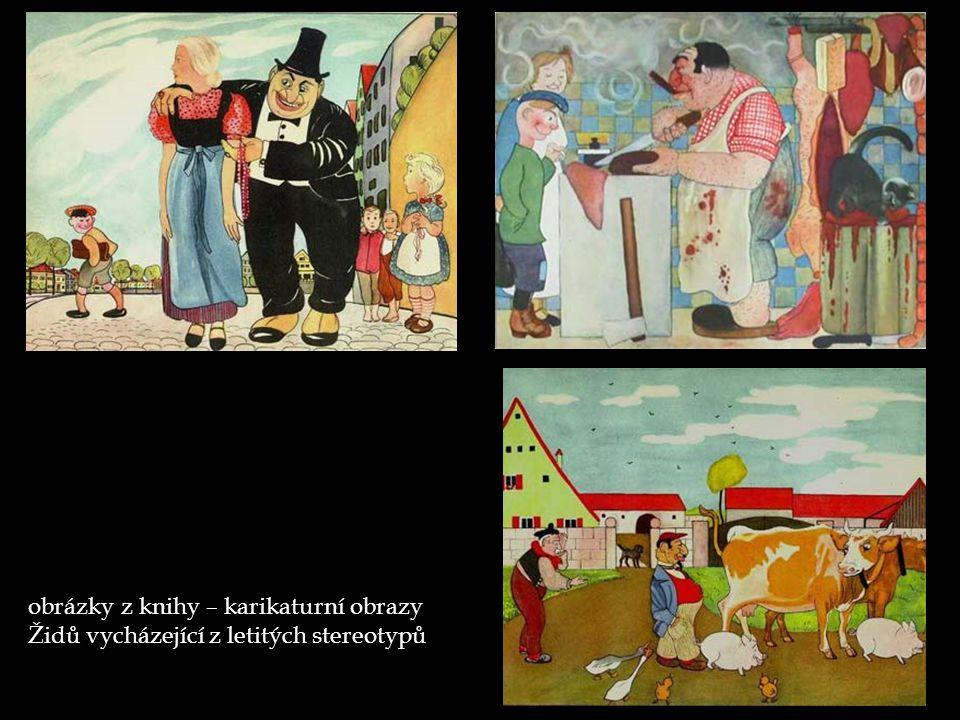 obrázky z knihy – karikaturní obrazy Židů vycházející z letitých stereotypů
