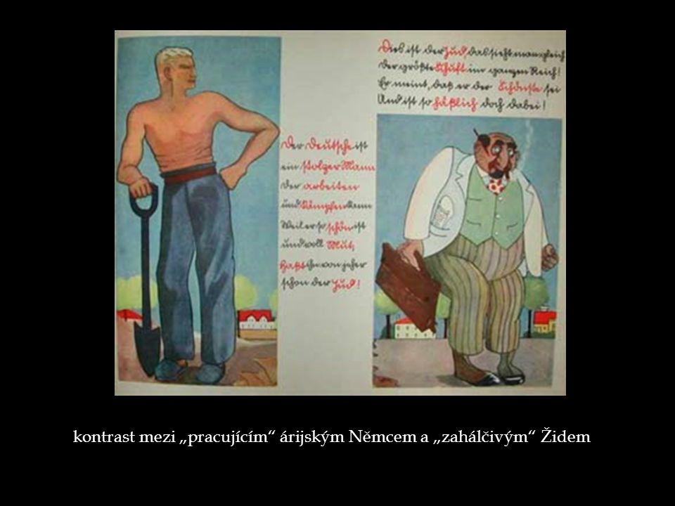 """kontrast mezi """"pracujícím"""" árijským Němcem a """"zahálčivým"""" Židem"""