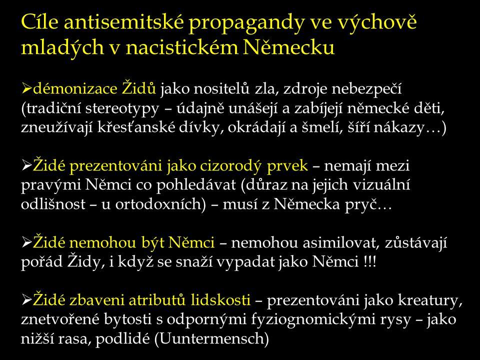 Cíle antisemitské propagandy ve výchově mladých v nacistickém Německu  démonizace Židů jako nositelů zla, zdroje nebezpečí (tradiční stereotypy – úda
