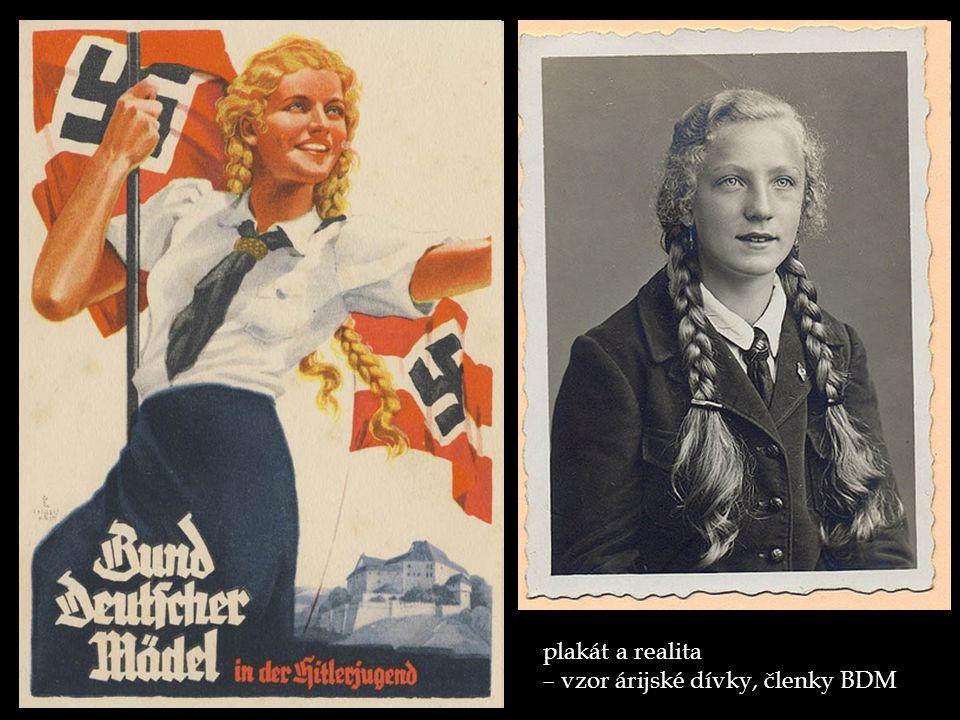 plakát a realita – vzor árijské dívky, členky BDM