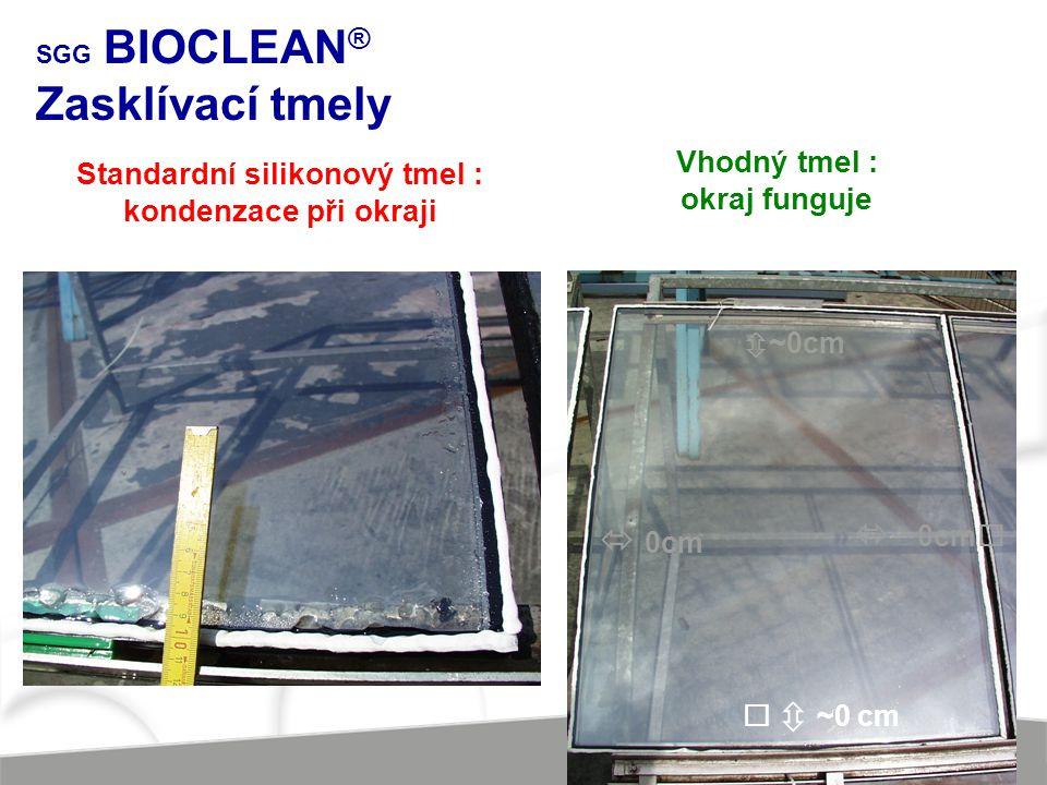 Vhodný tmel : okraj funguje  ~0cm   ~0 cm  0cm  ~0cm  Standardní silikonový tmel : kondenzace při okraji SGG BIOCLEAN ® Zasklívací tmely