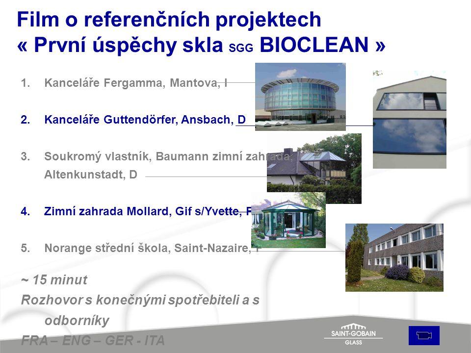 Film o referenčních projektech « První úspěchy skla SGG BIOCLEAN » 1.Kanceláře Fergamma, Mantova, I 2.Kanceláře Guttendörfer, Ansbach, D 3.Soukromý vl