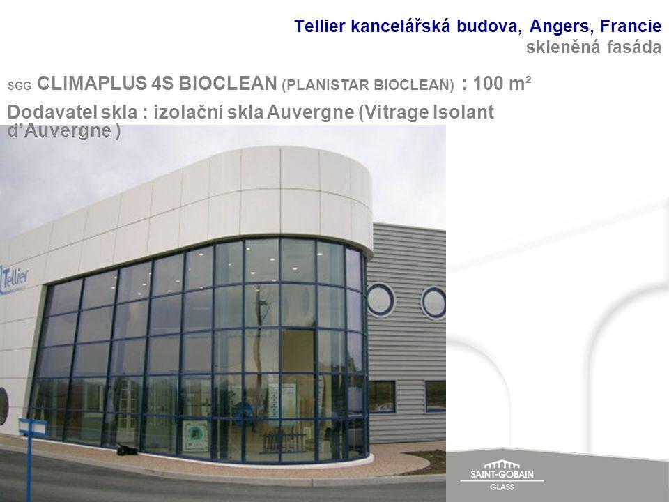 Tellier kancelářská budova, Angers, Francie skleněná fasáda SGG CLIMAPLUS 4S BIOCLEAN (PLANISTAR BIOCLEAN) : 100 m² Dodavatel skla : izolační skla Auv