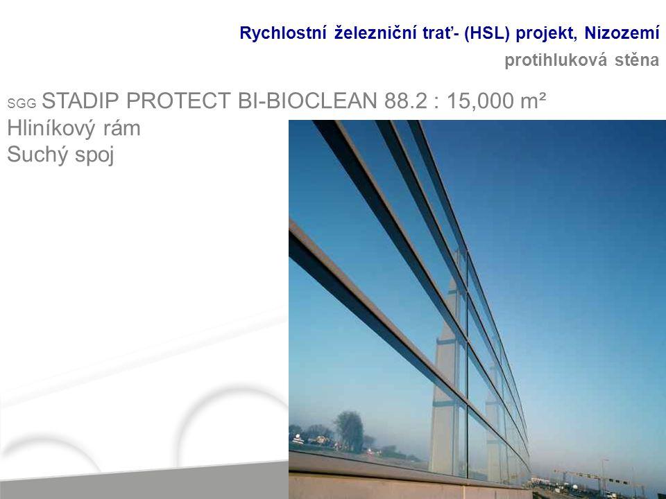 Rychlostní železniční trať- (HSL) projekt, Nizozemí protihluková stěna SGG STADIP PROTECT BI-BIOCLEAN 88.2 : 15,000 m² Hliníkový rám Suchý spoj