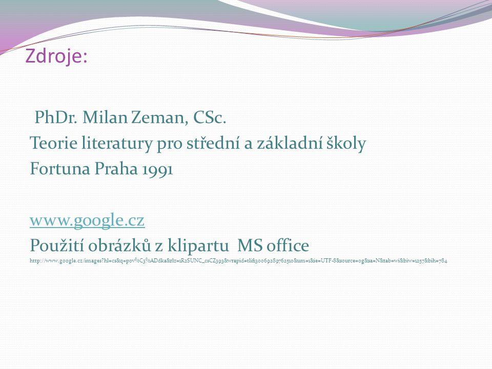 Zdroje: PhDr. Milan Zeman, CSc. Teorie literatury pro střední a základní školy Fortuna Praha 1991 www.google.cz Použití obrázků z klipartu MS office h