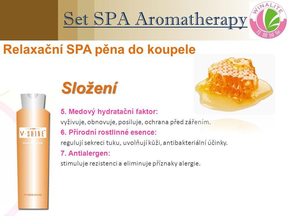 5. Medový hydratační faktor: vyživuje, obnovuje, posiluje, ochrana před zářením. 6. Přírodní rostlinné esence: regulují sekreci tuku, uvolňují kůži, a