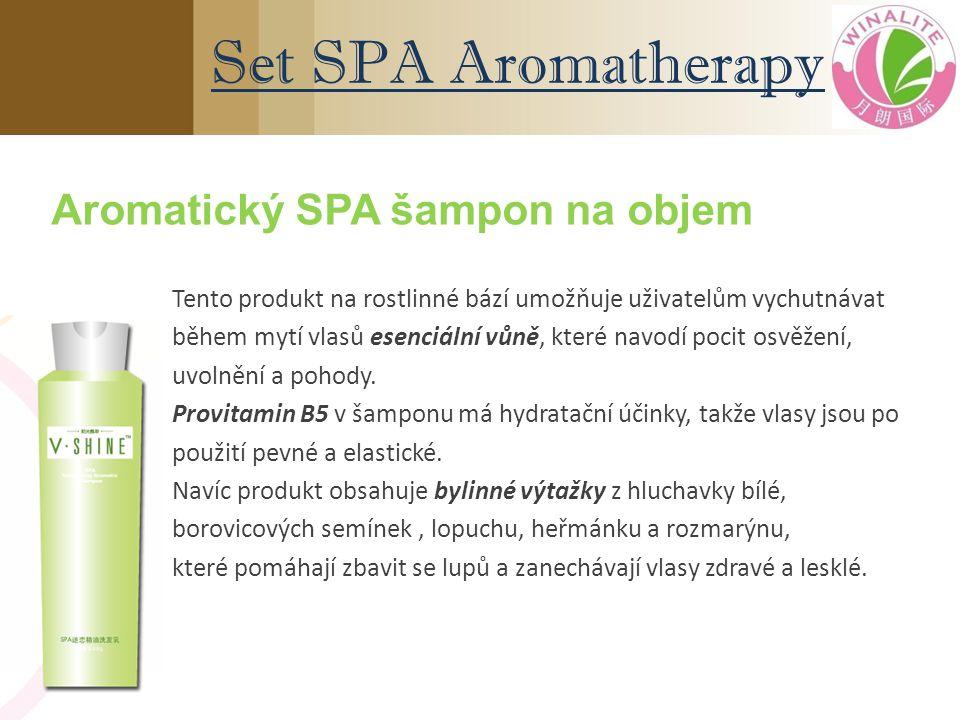 Aromatický SPA šampon na objem Tento produkt na rostlinné bází umožňuje uživatelům vychutnávat během mytí vlasů esenciální vůně, které navodí pocit osvěžení, uvolnění a pohody.