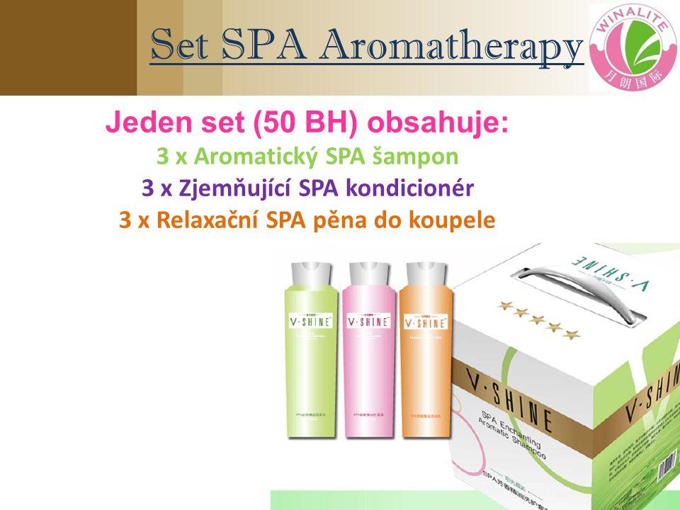 Set SPA Aromatherapy Jeden set (50 BH) obsahuje: 3 x Aromatický SPA šampon 3 x Zjemňující SPA kondicionér 3 x Relaxační SPA pěna do koupele
