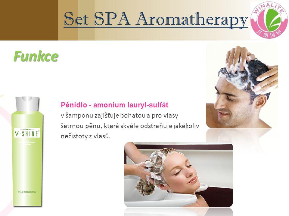 Pěnidlo - amonium lauryl-sulfát v šamponu zajišťuje bohatou a pro vlasy šetrnou pěnu, která skvěle odstraňuje jakékoliv nečistoty z vlasů. Set SPA Aro