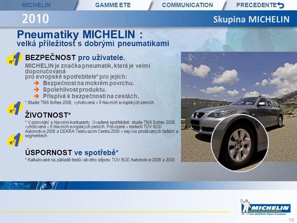 16 Skupina MICHELIN • Pneumatiky MICHELIN : velká příležitost s dobrými pneumatikami BEZPEČNOST pro uživatele. MICHELIN je značka pneumatik, která je