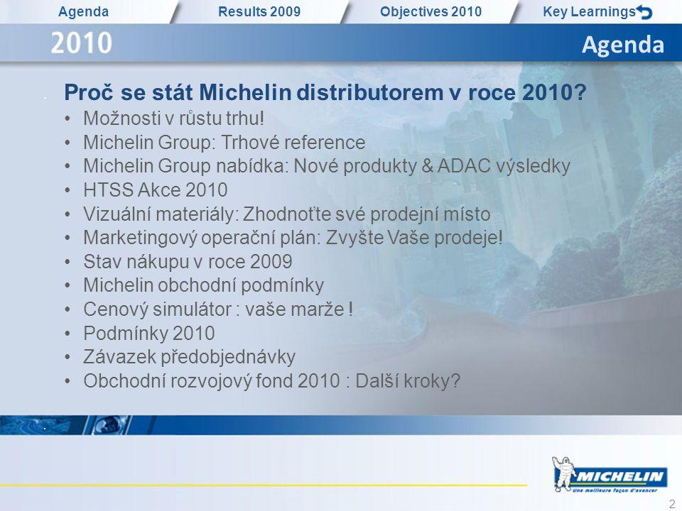 2 Agenda Results 2009Objectives 2010Key Learnings • Proč se stát Michelin distributorem v roce 2010? •Možnosti v růstu trhu! •Michelin Group: Trhové r