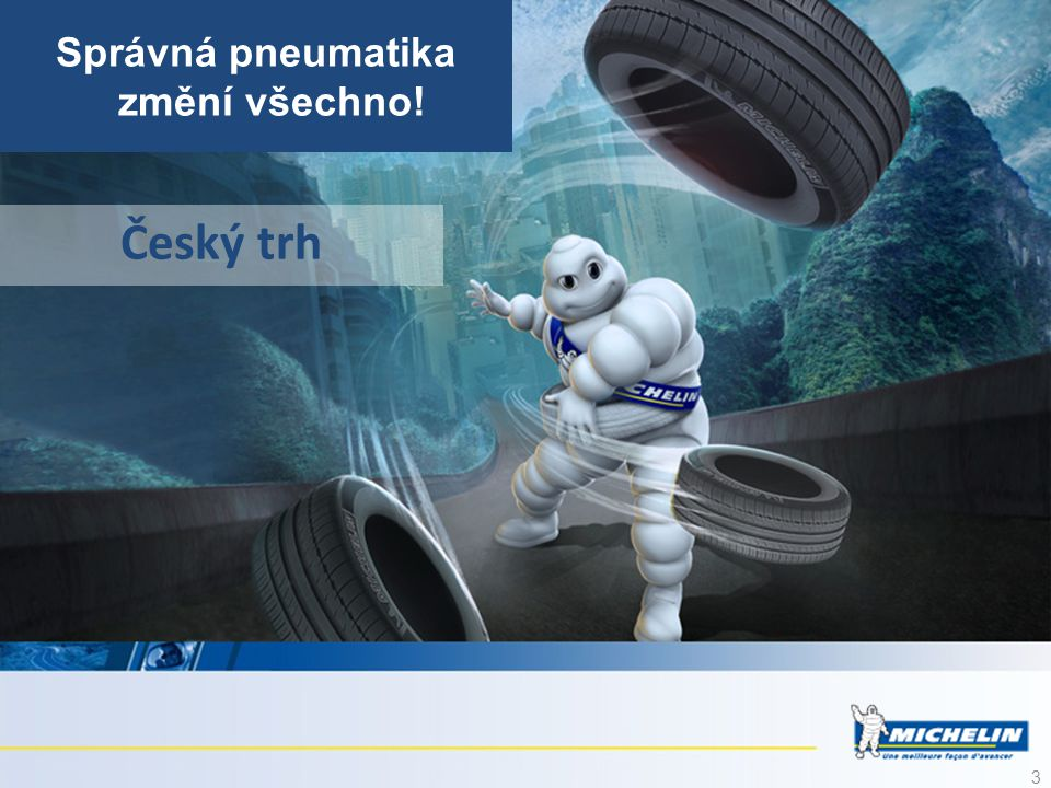 14 Michelin ve službách pohybu Osobní a lehké nákladní NákladníZemníLeteckéZemědělské DvoukolovéDistribuceMapy a PrůvodceViaMichelinMichelin Lifestyle Technologický leader Značka preferovaná automobilisty n° Leader v pneumatikách s vysokou technickou hodnotou CELOSVĚTOVĚ n° CELOSVĚTOVĚ V radiálních pneumatikách pro povrchové doly n° CELOSVĚTOVĚ V leteckých radiálních pneumatikách n° EVROPĚ V radiálních zemědělských pneumatikách.
