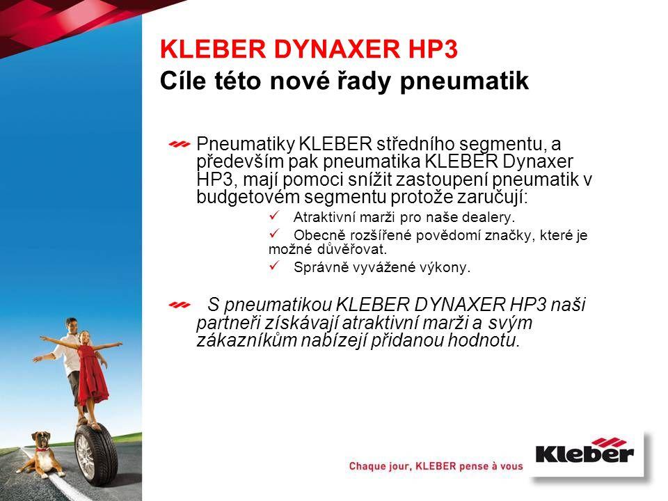 KLEBER DYNAXER HP3 Cíle této nové řady pneumatik Pneumatiky KLEBER středního segmentu, a především pak pneumatika KLEBER Dynaxer HP3, mají pomoci sníž