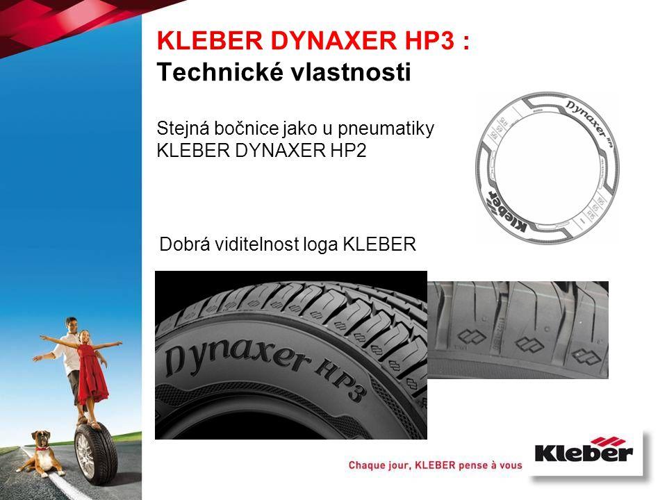 Stejná bočnice jako u pneumatiky KLEBER DYNAXER HP2 Dobrá viditelnost loga KLEBER