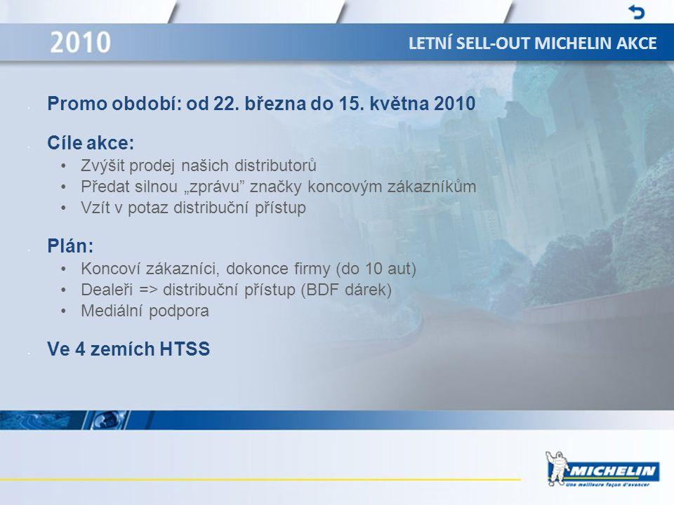 """LETNÍ SELL-OUT MICHELIN AKCE • Promo období: od 22. března do 15. května 2010 • Cíle akce: •Zvýšit prodej našich distributorů •Předat silnou """"zprávu"""""""