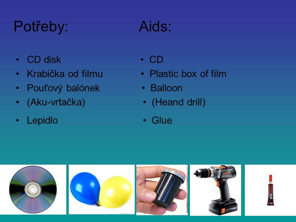 Potřeby: Aids: •CD disk • CD •Krabička od filmu • Plastic box of film •Pouťový balónek • Balloon •(Aku-vrtačka) • (Heand drill) •Lepidlo • Glue