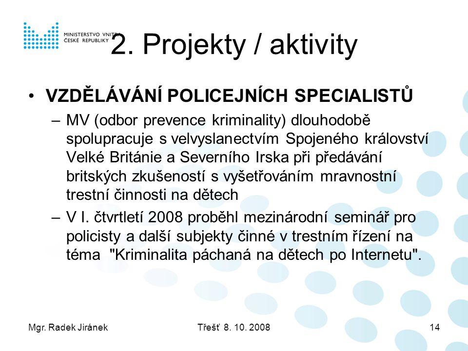 Mgr. Radek JiránekTřešť 8. 10. 200814 2. Projekty / aktivity •VZDĚLÁVÁNÍ POLICEJNÍCH SPECIALISTŮ –MV (odbor prevence kriminality) dlouhodobě spoluprac