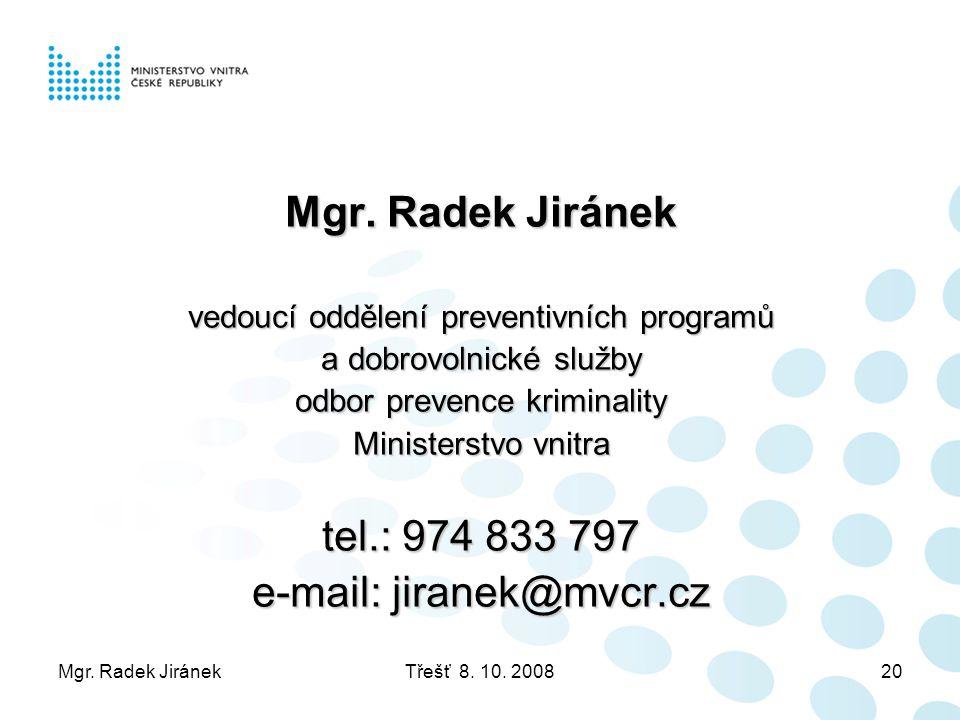 Mgr. Radek JiránekTřešť 8. 10. 200820 Mgr. Radek Jiránek vedoucí oddělení preventivních programů a dobrovolnické služby odbor prevence kriminality Min